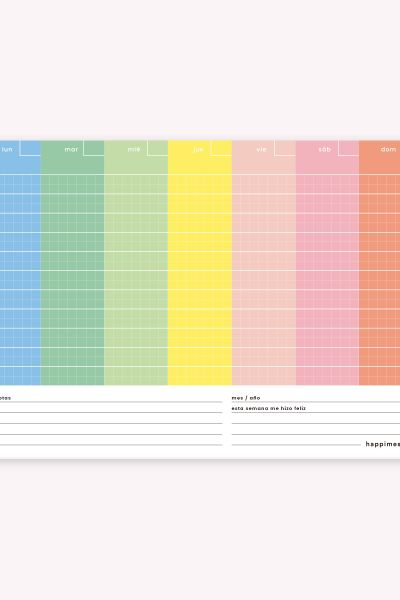 Desk Planner Weekly Block: Happimess Colorblock