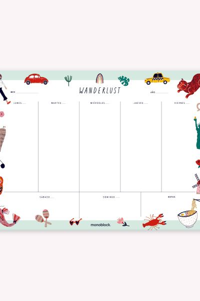 Desk Planner Weekly Block: Wanderlust